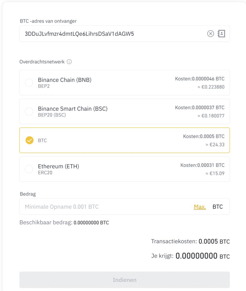 Bitcoin overzetten van Binance